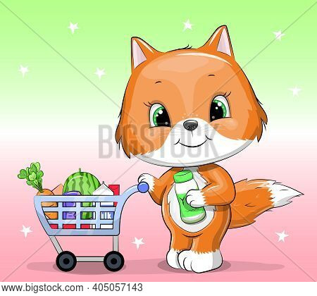 Cute Cartoon Fox With A Shopping Cart Full Of Groceries. Vector Illustration Of An Animal Shopping I