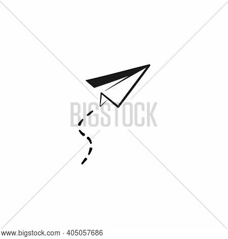 Paper Plane With Trace Line Icon. Flat Origami Airplane Isolated On White Background. Vector Illustr