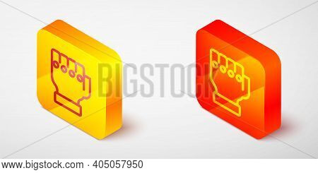 Isometric Line Mma Glove Icon Isolated On Grey Background. Sports Accessory Fighters. Warrior Gloves