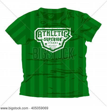 Athletic Superior League Emblem. Graphic Design For T-shirt. White Print On Green Wear