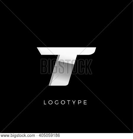 Steel T Letter. Business Monogram With Stainless Or Chrome Effect. Dynamic Logo Concept With Shiny A