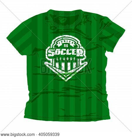 Soccer Junior League Emblem. Graphic Design For T-shirt. White Print On Green Wear