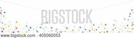 Festive Decent Confetti. Celebration Stars. Joyous Stars On White Background. Adorable Festive Overl