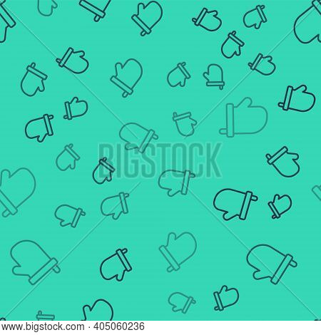 Black Line Sauna Mittens Icon Isolated Seamless Pattern On Green Background. Mitten For Spa. Vector