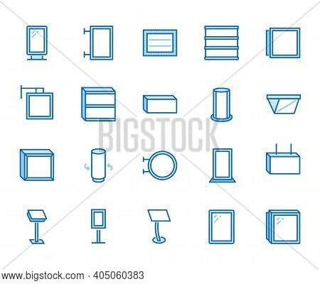 Light Box Flat Line Icons. Hanging Signboard, Retro Lightbox, Outdoor Banner, Shop Advertising Vecto