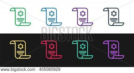 Set Line Torah Scroll Icon Isolated On Black And White Background. Jewish Torah In Expanded Form. St