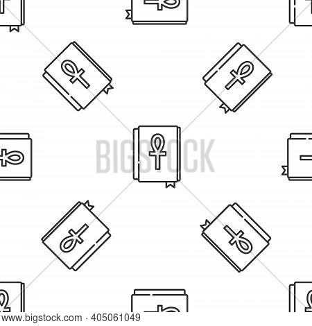 Grey Line Cross Ankh Book Icon Isolated Seamless Pattern On White Background. Vector