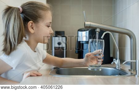 Little Child Open Water Tap. Kitchen Faucet. Glass Of Clean Water. Pouring Fresh Drink. Hydration. H