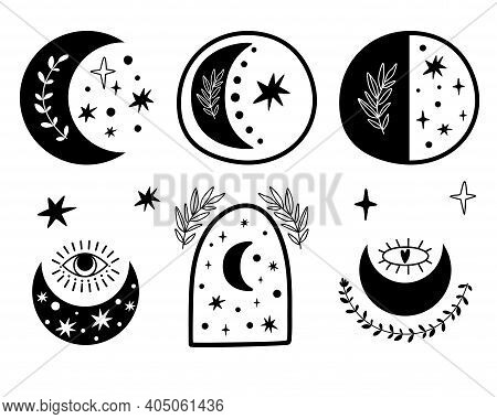 Boho Moon Set. Celestial Moon Logo Collection. Moon And Stars Isolated Elements. Contemporary Aesthe