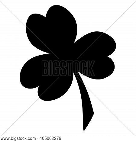 Clover. Trefoil. Silhouette. White Clover Leaf - Symbol Of Ireland Vector Illustration. Isolated Whi