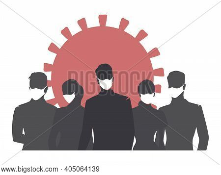 Coronavirus And People With Face Masks. Covid-19. Flat Design Isolated Vector Illustration. Group Of