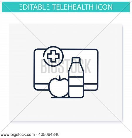 Nutrition Therapy Online Line Icon. Tele Diet Website, Application. Nutritionist Virtual Consultatio