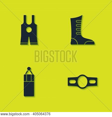 Set Wrestling Singlet, Boxing Belt, Punching Bag And Sport Boxing Shoes Icon. Vector