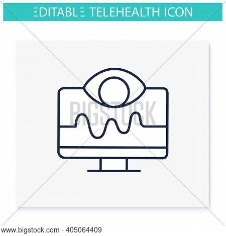 Remote Health Monitoring Line Icon. Telehealth Medical Care. Virtual Medical Consultation. Telemedic