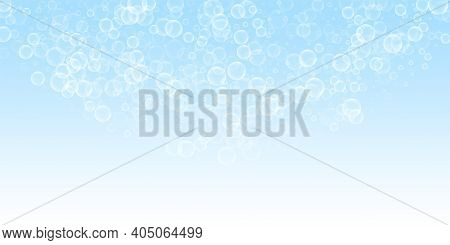Random Soap Bubbles Abstract Background. Blowing Bubbles On Night Sky Background. Astonishing Soapy