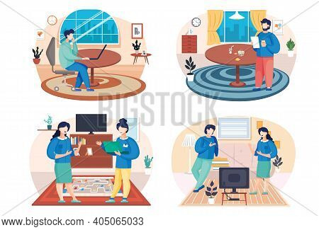 A Set Of Illustrations On The Theme Of People Working With Laptops. Colleagues Communicate And Spend