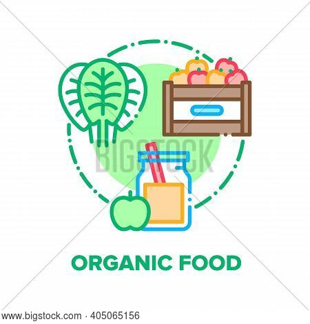 Organic Food Vector Icon Concept. Fresh Salad Or Spinach Leaves, Harvested Apples Container And Juic