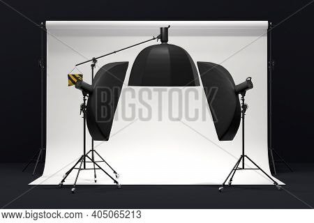 Photography Photo Studio With Professional Lighting Equipment On Background