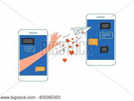 Human Hand Sending Virtual Paper Airplane Message With Love. Online Relationship. Happy Valentine Da