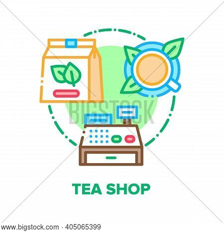Tea Shop Product Vector Icon Concept. Tea Shop Cashier Electronic Equipment For Selling Aromatic Bev