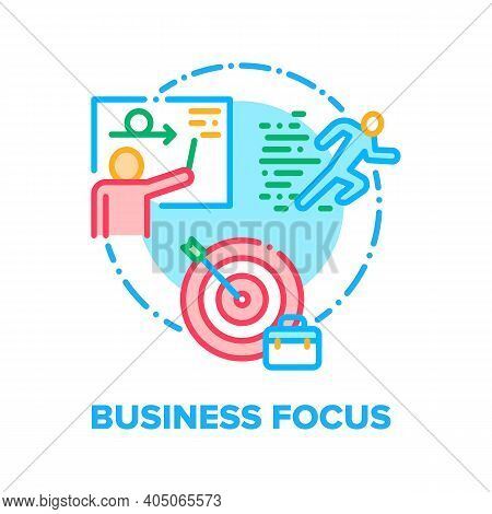 Business Focus Vector Icon Concept. Businessman Focusing On Business Idea And Running To Target, Pre
