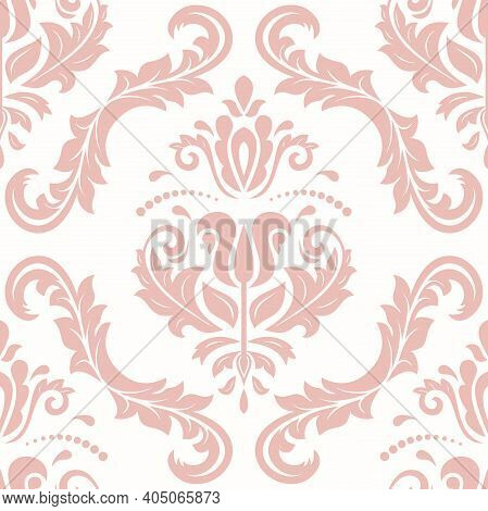 Orient Vector Classic Pink Pattern. Seamless Abstract Background With Vintage Elements. Orient Backg