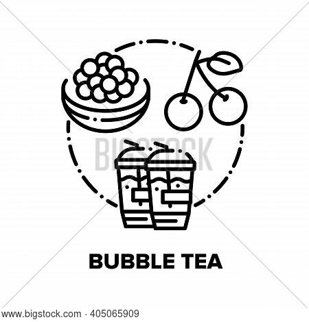Bubble Tea Drink Vector Icon Concept. Bubble Tea Refreshness Beverage With Cherry Berry And Chocolat