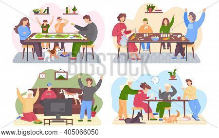 Set Of Illustrations About Family Playing Board Game At Home. Parents And Children Spending Evening