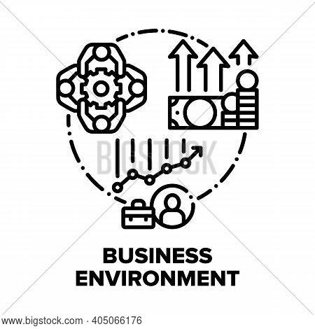 Business Environment Team Vector Icon Concept. Office Business Environment And Teamwork, Growth Mone