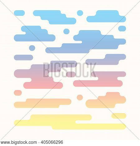 Vector Clouds Pattern Isolated On White Background. Flat Abstract Cartoon Illustration Related To Sk