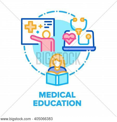 Medical Education Literature Vector Icon Concept. Woman Medical College Student Reading Medicine Edu