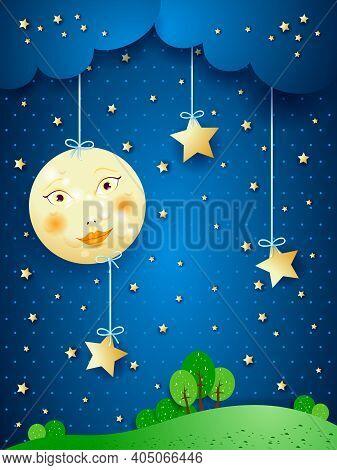 Countryside, Fantasy Illustration At Night. Vector Eps10