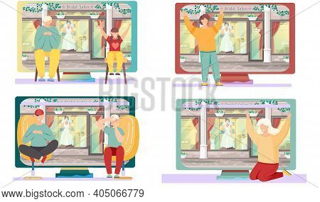 Set Of Illustrations About Preparation For The Wedding. Engaged Couple Looking At Window Of Boutique