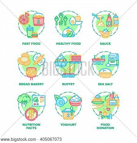 Food And Drink Set Icons Vector Illustrations. Healthy And Fast Food, Sauce Ad Sea Salt, Bread Baker