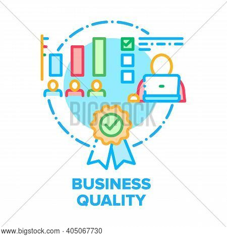 Business Quality Vector Icon Concept. Employees Work Statistic Of Execution Of Plan And Task Impleme