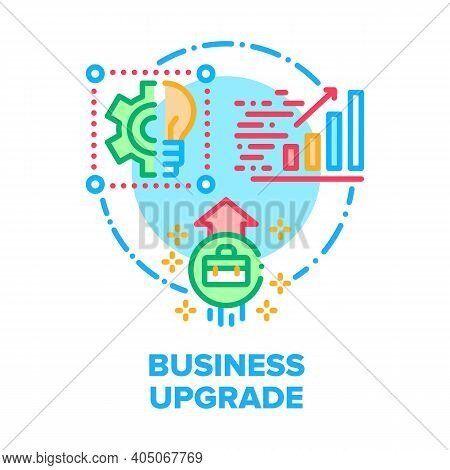 Business Upgrade Vector Icon Concept. Analyzing Business Strategy And Researching Infographic, Excha