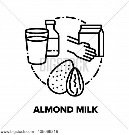 Almond Milk Vector Icon Concept. Nut Healthcare Milk Glass, Bottle And Package, Healthy Diet Dairy D