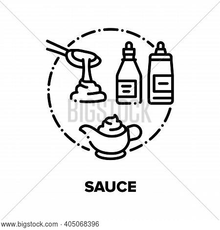 Sauce Flavoring Vector Icon Concept. Ketchup And Mayonnaise, Mustard And Soy Sauce. Seasoning For Di