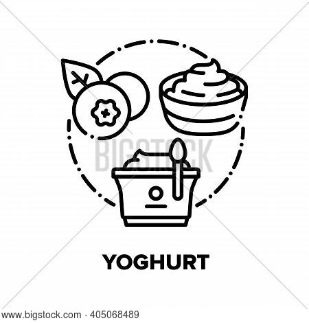 Yoghurt Food Vector Icon Concept. Blueberry Yoghurt In Plate, Healthy Dairy Product With Juicy Black