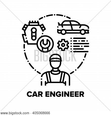 Car Engineer Vector Icon Concept. Automobile Maintenance Engineer Repair Service Worker For Fixing V