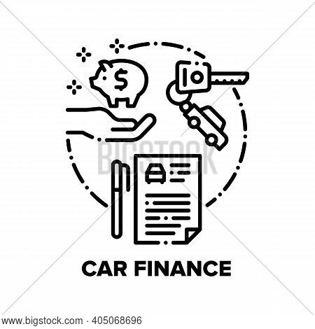 Car Finance Vector Icon Concept. Car Buying Dealer Agreement And Insurance Documents, Customer Save
