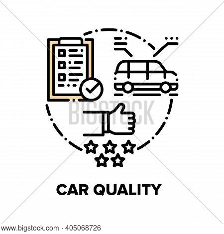 Car Quality Vector Icon Concept. Automobile Build Construction Checking Quality With Checklist And D