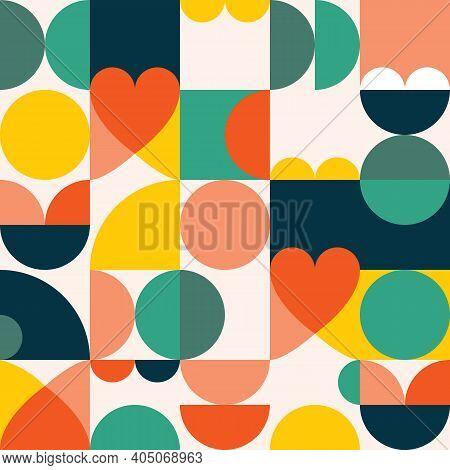 Mid-century Modern 60's And 70's Style Vector Seamles Pattern - Retro Minimalist Geometric Textile O