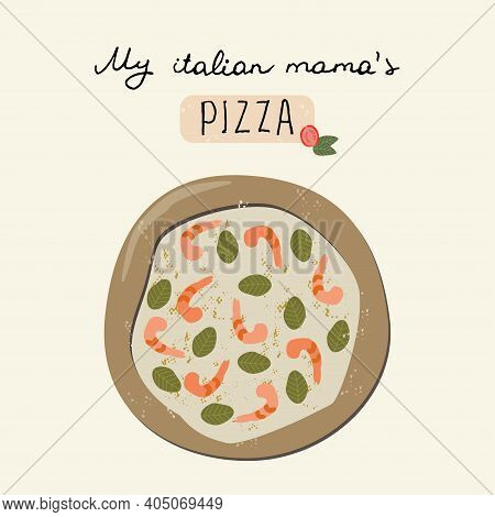I Love Pizza Vector Hand Drawn Poster.