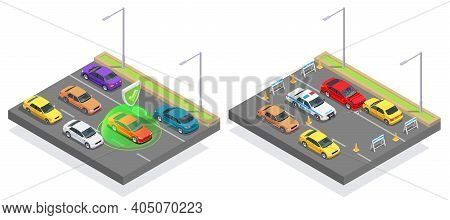 Car Ownership Usage Isometric Composition With View Of Motorway With Asphalt Lanes And Images Of Car