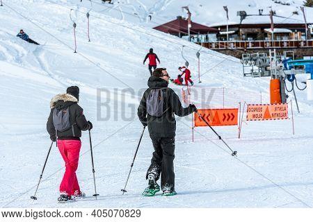 Grandvalira, Andorra: 2021 January 17: People Snowshoeing At The Grandvalira Ski Resort In Andorra I