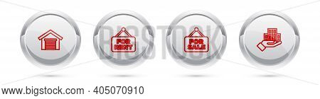 Set Line Garage, Hanging Sign With For Rent, Sale And Skyscraper. Silver Circle Button. Vector