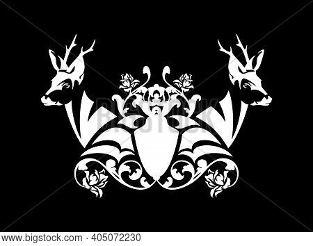 Pair Of Wild Roe Deer Stags With Heraldic Shield Among Rose Flowers - Medieval Style Coat Of Arms Bl