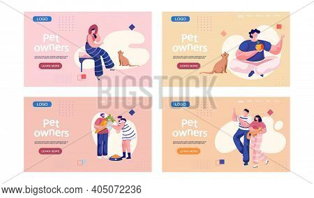 Pet Owners Landing Page Template. Happy People Playing With Their Domestic Animals Scenes Set On Pin