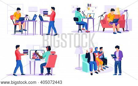 Set Of Illustrations On The Topic Of Working In A Recording Studio. Guys With Laptops Make Music. Me